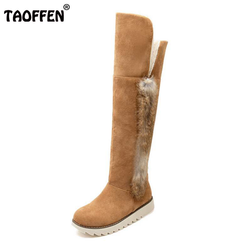 TAOFFEN Plush fur Size 34-43 Women Snow Boots Knee Boots With Flats Cold Winter Shoes Warm Fur Botas Long Boots Women Footwears vga av converter vga to tv av rca signal adapter converter video switch box supports ntsc pal system