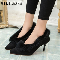 winter red high heels shoes woman luxury brand suede pointed toe bigtree shoes fur sandals sexy pumps bridal wedding women shoes