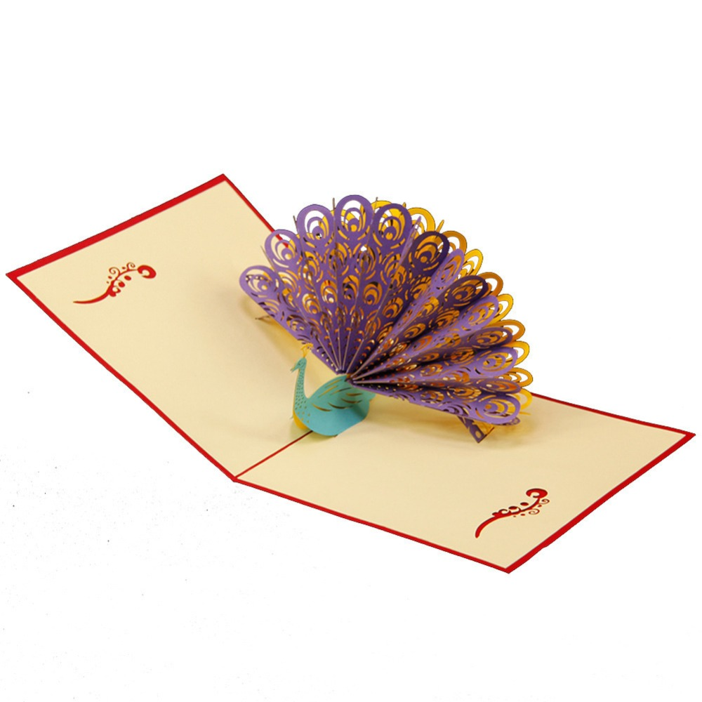 3D creative stereo Mid Autumn Festival holiday blessing cards custom paper Postcard Peacock  dls a2 mid stereo