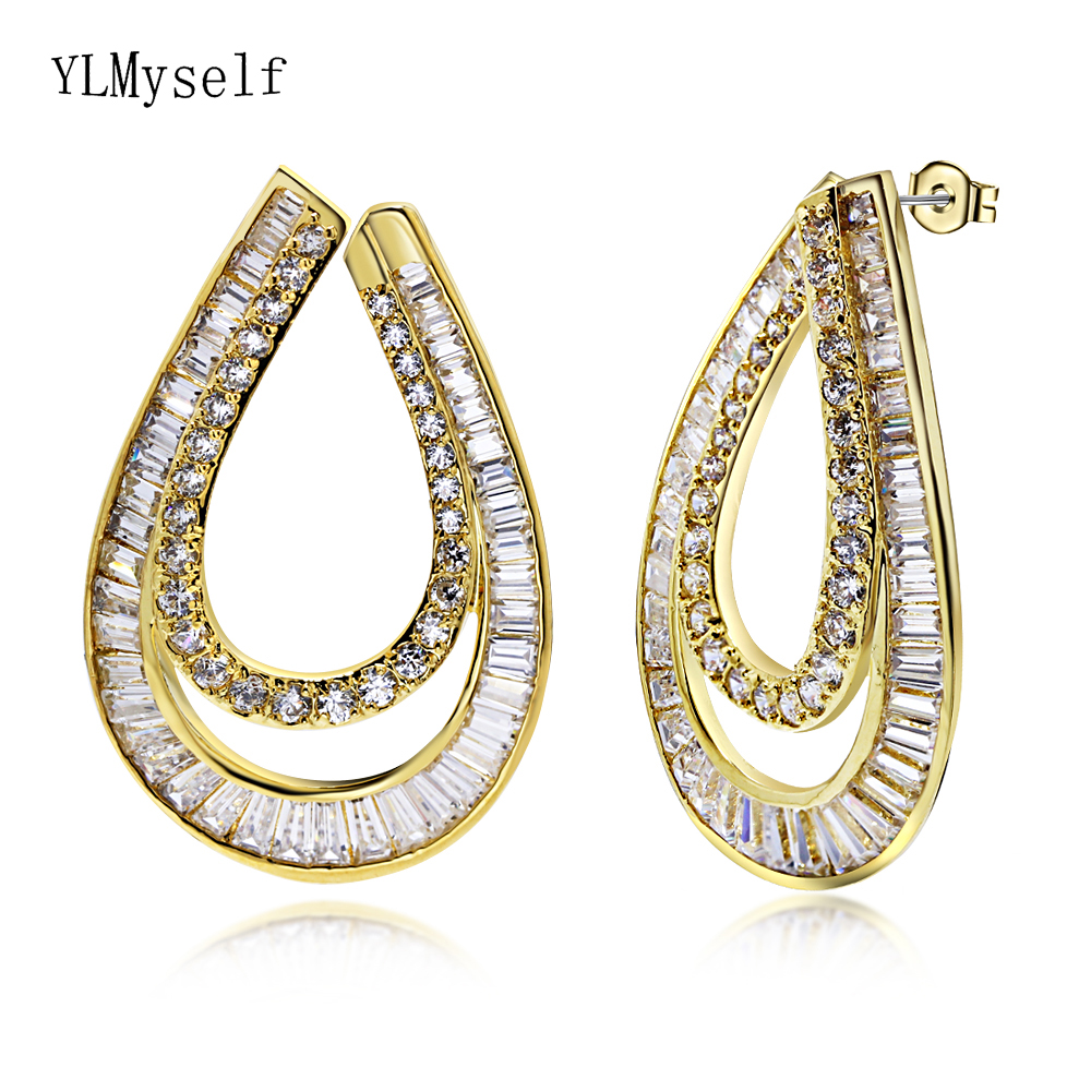 Expensive party earrings pave high quality zircon crystal women big drop earring White and Gold color