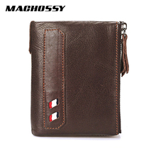 Vintage Genuine Cow Leather Men Wallet Coin Purse Wallets with Coin Pocket Dual Zipper Short Small Credit Card Holder Men Purse все цены