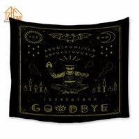 메모리 홈 태피스트리 폴리 에스테르 벽 매달려 위자 보드 패턴 태피스트리 블랙 침대보 침구 침대 커버 민족 홈 장식