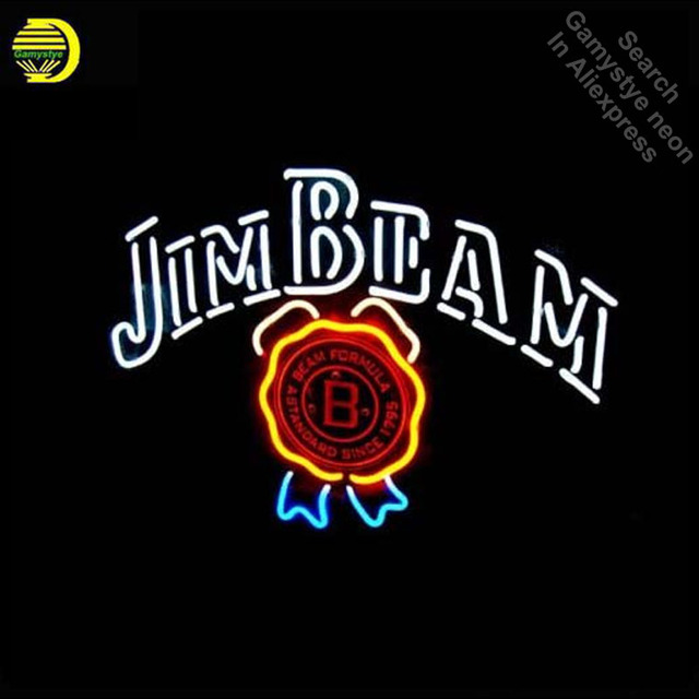 Jim Beam Neon Sign neon bulb Sign print Neon light Sign glass Tube Beer Pub Handcraft Commercial Iconic Sign Neon Bulbs lights
