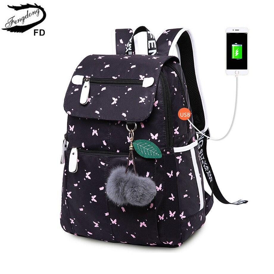 FengDong weibliche mode schulrucksack usb schultaschen für mädchen schwarz rucksack plusch ball mädchen schul schmetterling dekoration