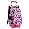 ZIRANYU Verwijderbare Kinderen Schooltassen met 2/6 Wielen voor Meisjes Trolley Rugzak Kids Wheeled Bag Boekentas reizen bagage