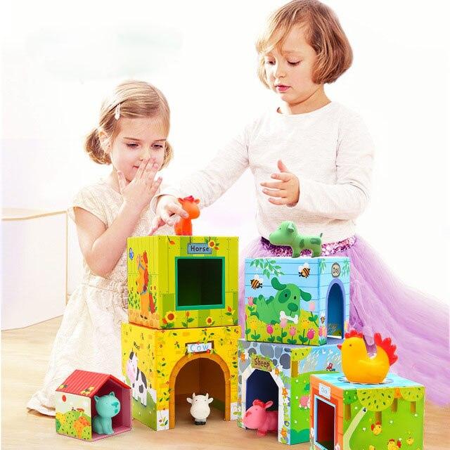 Enfants empilement haut jouet Animal ensemble musique Puzzle illumination empilage tour jeu de société Parent-enfant jeu 1-3 ans