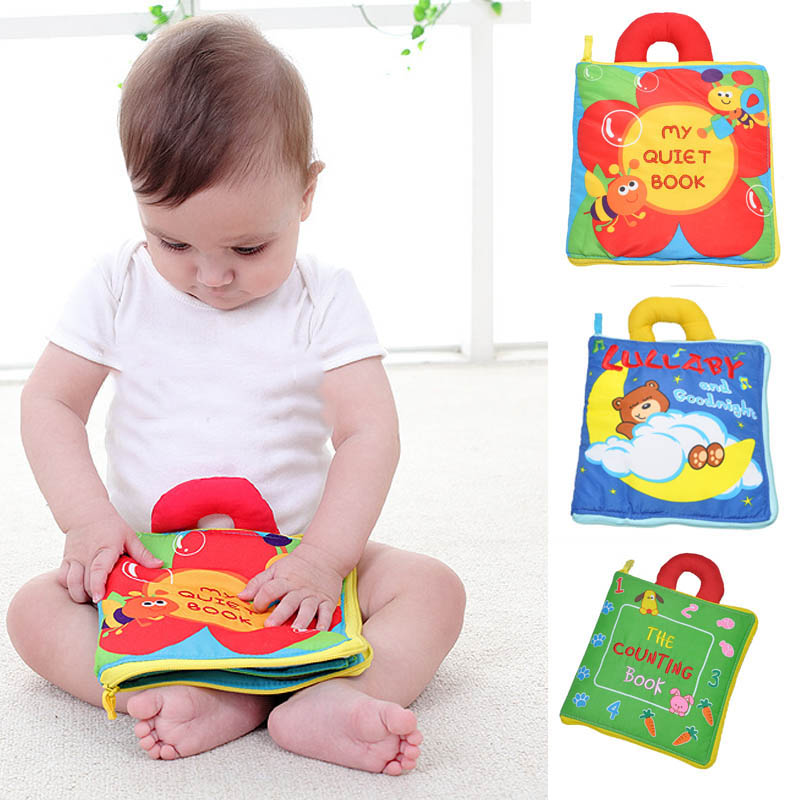12 pages Soft Cloth Baby Boys Girls Books Rustle Sound ...