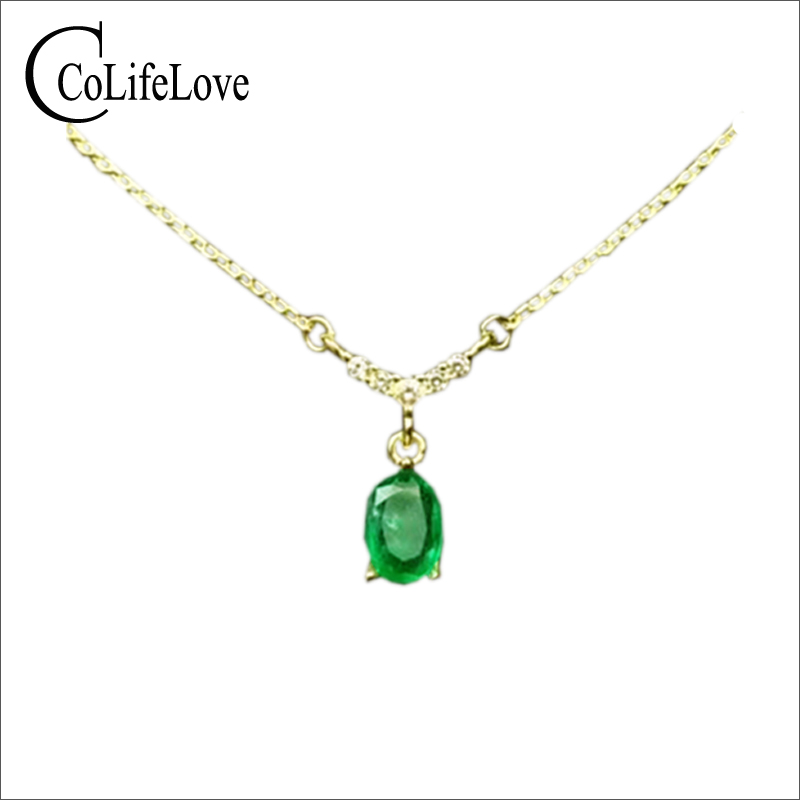 Classic emerald pendant necklace for party 5 mm * 7 mm real natural emerald necklace 925 silver emerald fine jewlery цены