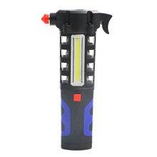 Multipropósito del vehículo del coche linterna magnética LED seguridad Escape rescate interruptor de la ventana martillo de emergencia herramienta de imán COB linterna