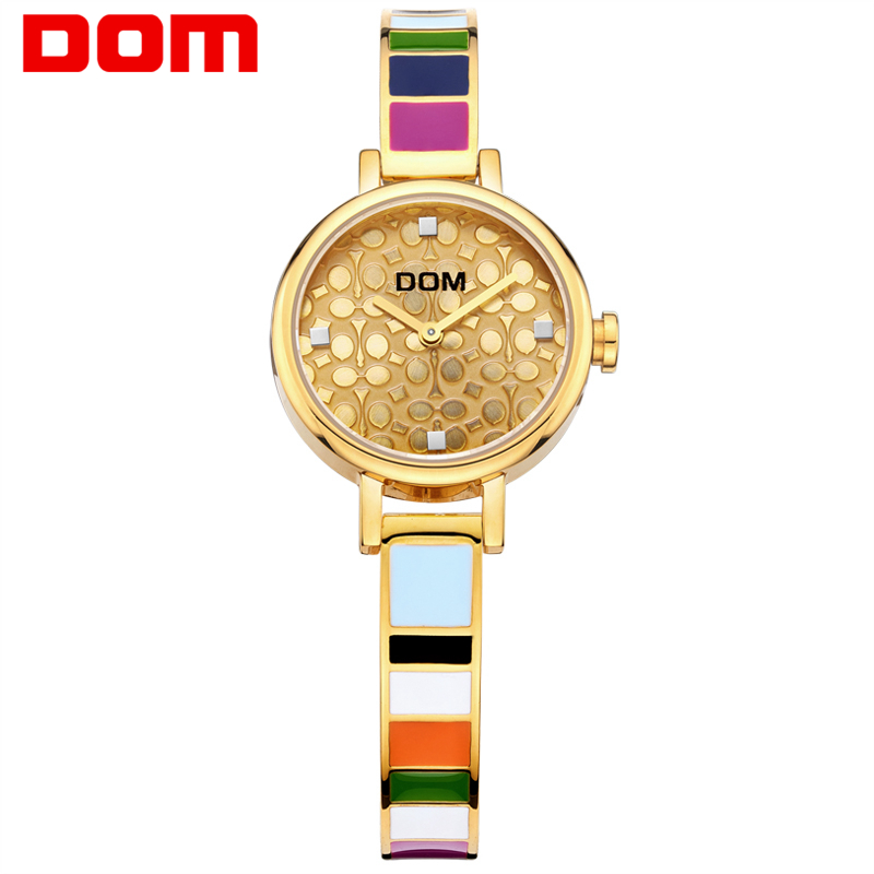 ФОТО DOM women luxury brand waterproof style quartz stainless steel gold nurse watch