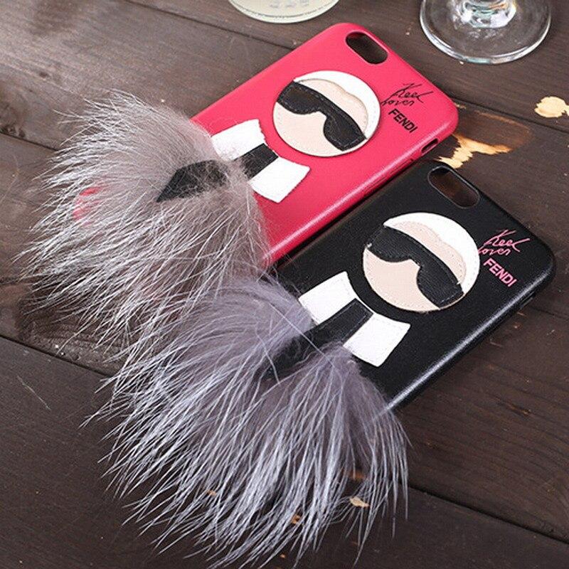 imágenes para De lujo de Piel Cubierta de la Caja Para El Iphone 7 Plus 6 6 s Señor KarlLagerfel búho de La Piel Peluda Funda Capa de Cuero de Pelo de Conejo de Dibujos Animados Rojo Caja de Regalo