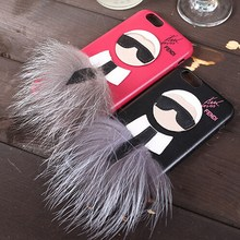 Роскошные Меха чехол для iPhone 7 Plus 6 6 S mr karllagerfel Сова Меха ry кролик кожи волосы Капа Принципиально кожа мультфильм красный чехол подарок