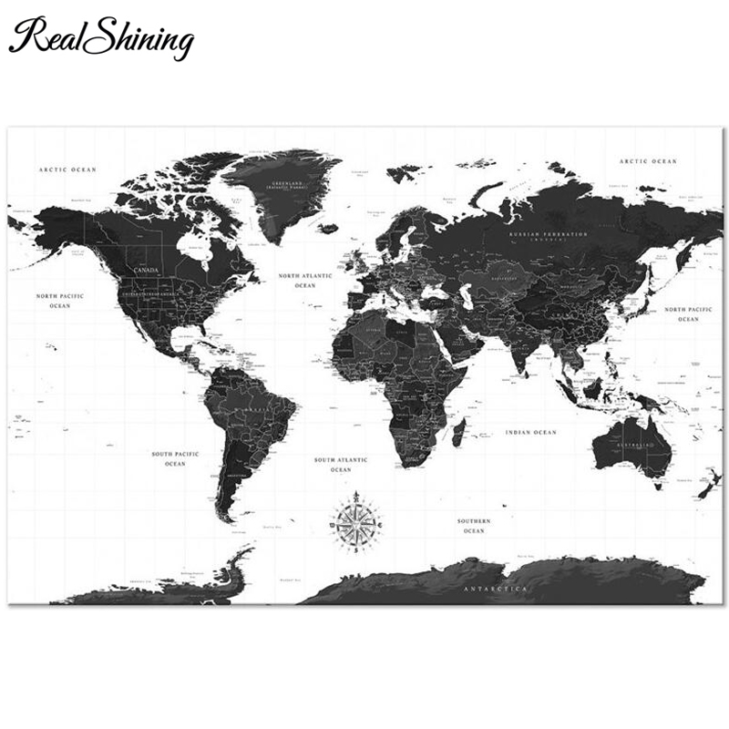 US $6.47 39% OFF|REALSHINING Large 5D Diamond Embroidery,Black White World  Map,Diamond Painting,Full Cross Stitch,Mosaic,Square,Drills,DIY FS3126-in  ...