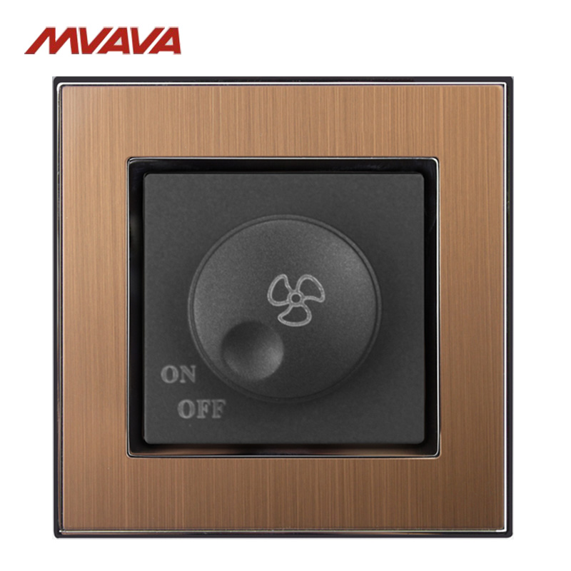 MVAVA Ceiling Fan Switch 110 250V Speed Control Wall Turn ON OFF Rotate Gold Satin Metal UK EU Standard Free Shipping in Dimmers from Lights Lighting
