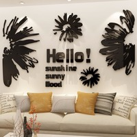 Ins bedroom wall decoration Sticker 3d self adhesive wall sticker bedside web celebrity Acrylic Abstract pattern mirror sticker