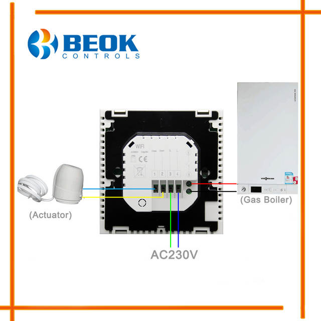 BEOK BOT 313WIFI Gas Boiler Heating Thermostat Blue White AC220V Wifi Temperature Regulator For Boilers Weekly Programmable