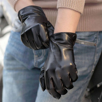 Fashion Men Real Sheepskin Gloves Wrist Solid Winter Lambskin Genuine Leather For Male Warm Driving Glove Free Shipping M001NC 1