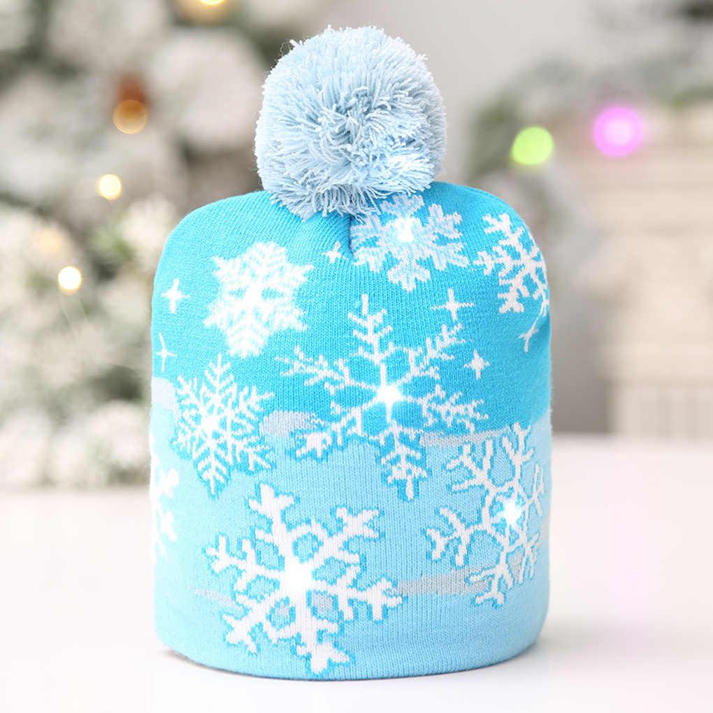 Дети взрослые светодиодный свет Рождество Мужчины дерево снежинка шляпа цветные лампы светящиеся рождественские подарки кепки