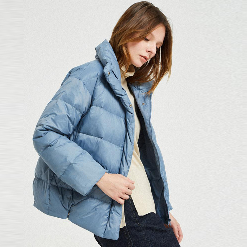YNZZU High Quality 2019 Spring Women's Down Jacket Blue Casual 90% White Goose Down Coat Stand Collar Warm Female Jacket O802