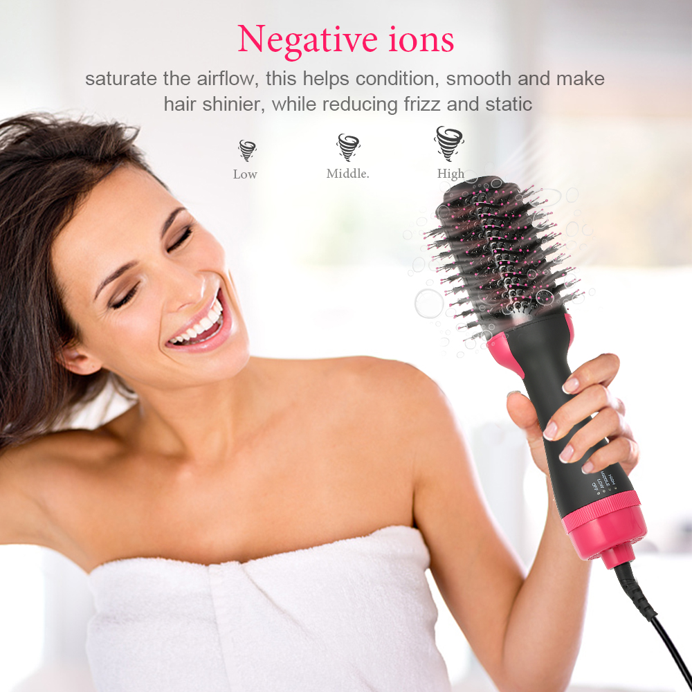 3 in 1 Negative Ions Hair Dryer Curler Straightener Hot Air Hair Brush Roller Comb Hair Curling Iron hair curlers hairbrush