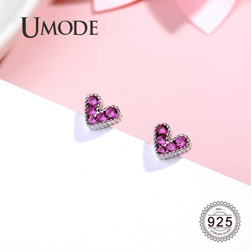 UMODE ออกแบบหัวใจ s925 สตั๊ดต่างหูผู้หญิงหรูหรา 925 เงินสเตอร์ลิงต่างหูอินเทรนด์ Zircon ทับทิม Rose เครื่องประดับ LE0617