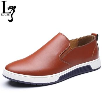 Wiosna jesień mężczyźni skórzane mokasyny modne buty wsuwane męskie buty na co dzień dla mężczyzn mokasyny marki nowe mokasyny wypoczynek duży rozmiar tanie i dobre opinie L LOUBIT Skóra Split Gumowe Pasuje prawda na wymiar weź swój normalny rozmiar Oddychająca Masaż Wiosna jesień Slip-on