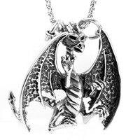 Titan Stahl Fire Dragon Fly Halskette Anhänger Männer Schmuck Großhandel Edelstahl Halskette