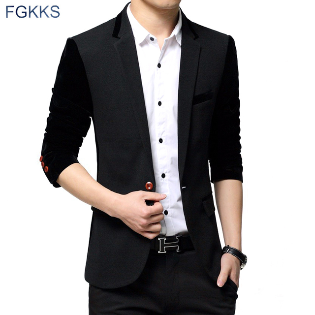 FGKKS 2017 Nuevo Negocio de La Llegada Hombres de La Moda Chaquetas Ocasionales de Los Hombres Blazers Solo Botón Formal Populares Desgin Vestido de Traje Chaqueta de Los Hombres