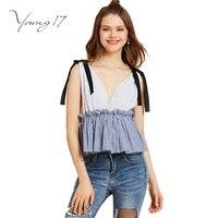 Young17 sexy top verão 2017 v profundo neck backless straps azul listrado patchwork plissado mulheres sexy top curto ruched camis