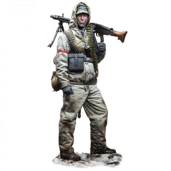 1/16 Figure Resin 120MM Machine Gun Soldier Unpainted And Not Assembled  113G