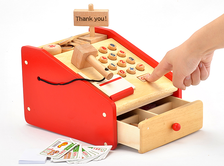 Baby Toys Japan Artificial Simulation Cash Register Supermarket Cash Desk Baby Intelligence Wooden Toys Birthday Gift