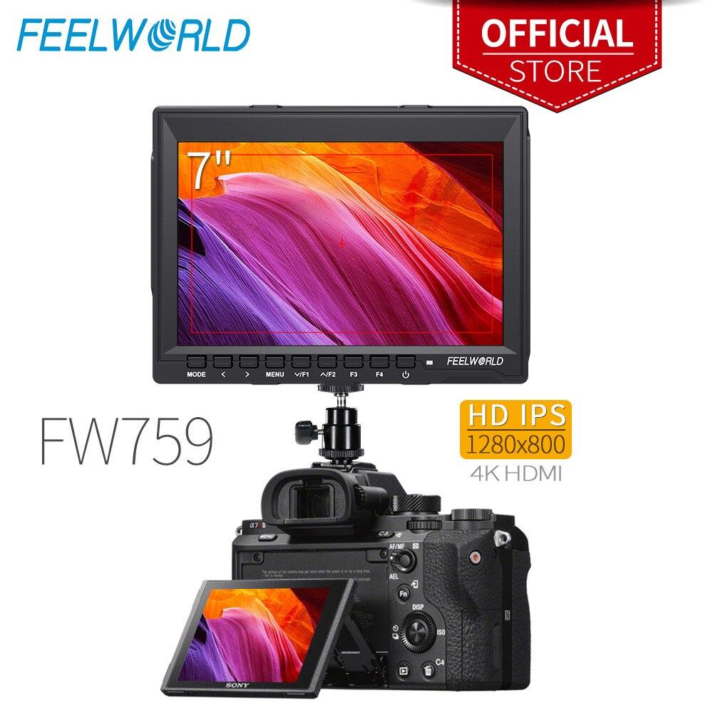 Feelworld FW759 7 дюймов ips 1280x800 4 к камера HDMI полевой монитор с пиковым фокусом 7 ЖК-монитор для DSLR камеры Canon sony