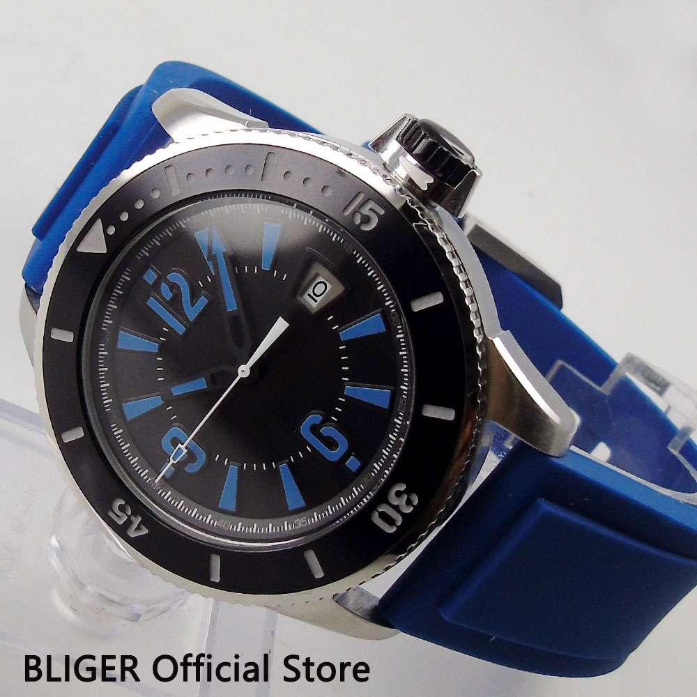 цена на Casual BLIGER 43MM Black Sterile Dial Stainless Steel Case Black Ceramic Bezel Rubber Strap Automatic Movement Men's Watch BI2