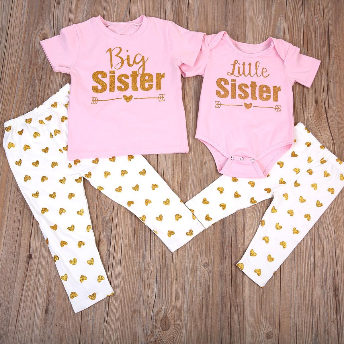 Комплект одежды для сестры из 2 предметов, новинка 2017, футболка для старшей сестры, топ, брюки, боди для младенца + штаны, наряд с принтом в вид...