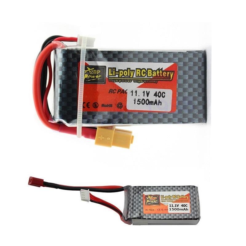 5 pcs/lot ZOP Power LiPo batterie 11.1 V 1500 Mah 3 S 40C Max 60C XT60 prise T pour RC quadrirotor Drone hélicoptère voiture avion