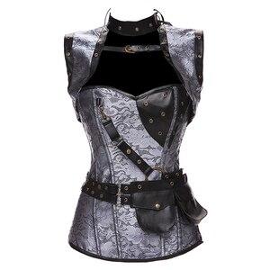 Image 5 - Dobby Faux cuir Punk Corset acier désossé gothique vêtements taille formateur Basque Steampunk Corselet Cosplay fête tenues S 6XL