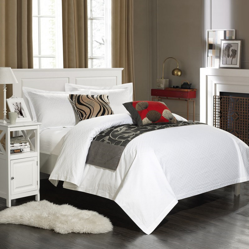 60s Pure Cotton Hotel Home Bed Set Satin Jacquard 4pcs Duvet Cover Bed Set Bed Sheet Pillowcases White Queen King Hotel Use Soft