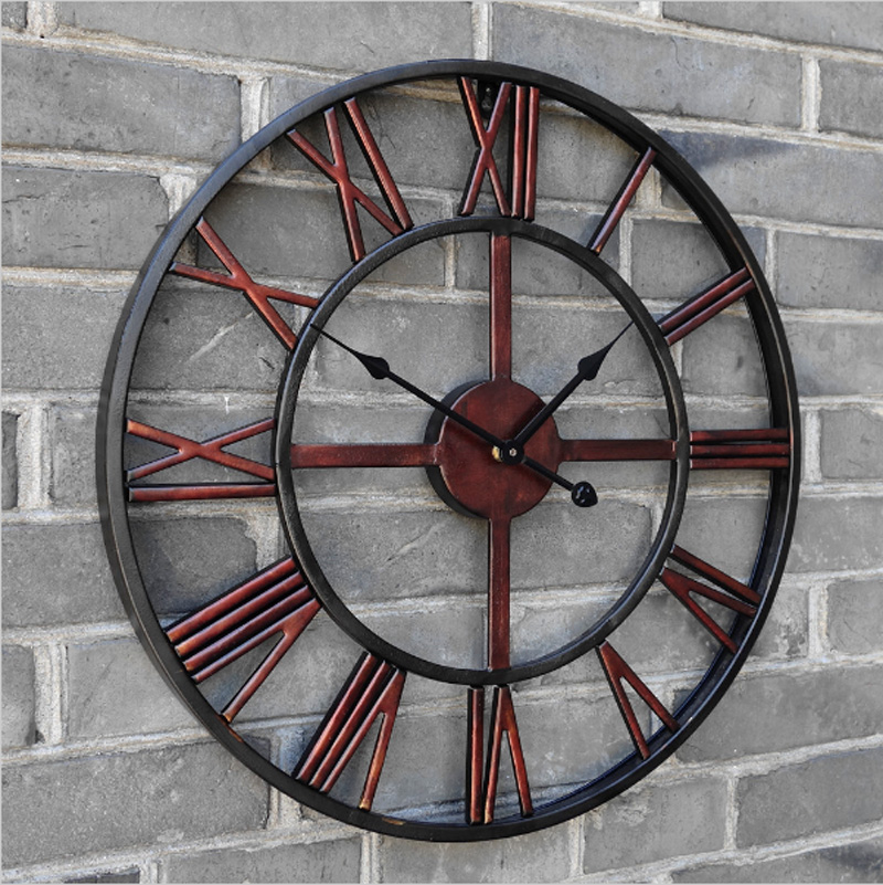 Oversized 3d retro roman wrought iron vintage large Oversized metal wall clocks