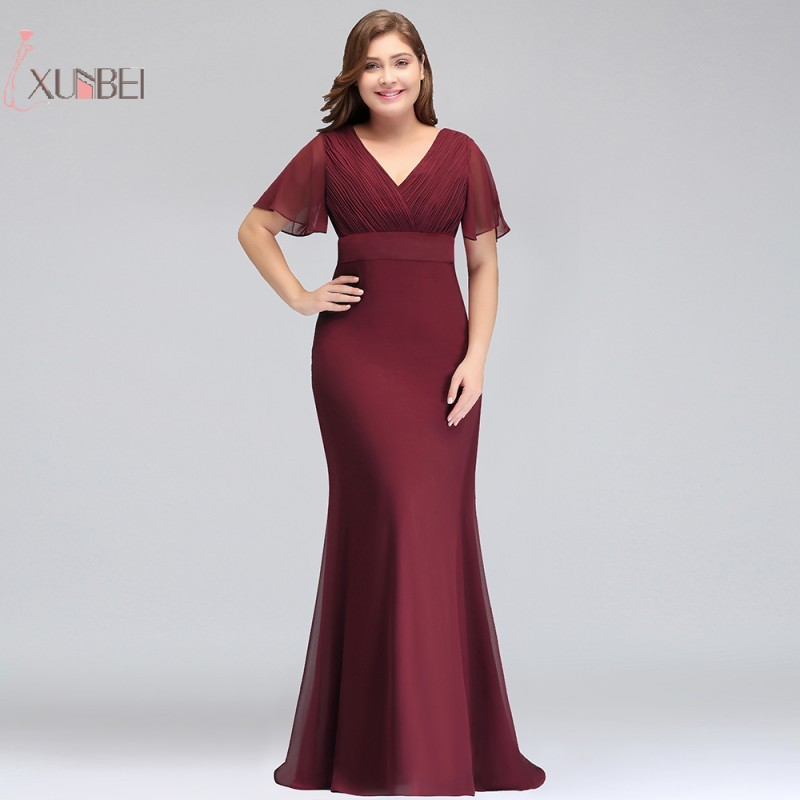 2019 Chiffon Mermaid Plus Size Long   Prom     Dresses   V Neck Short Sleeve Gown vestidos de gala