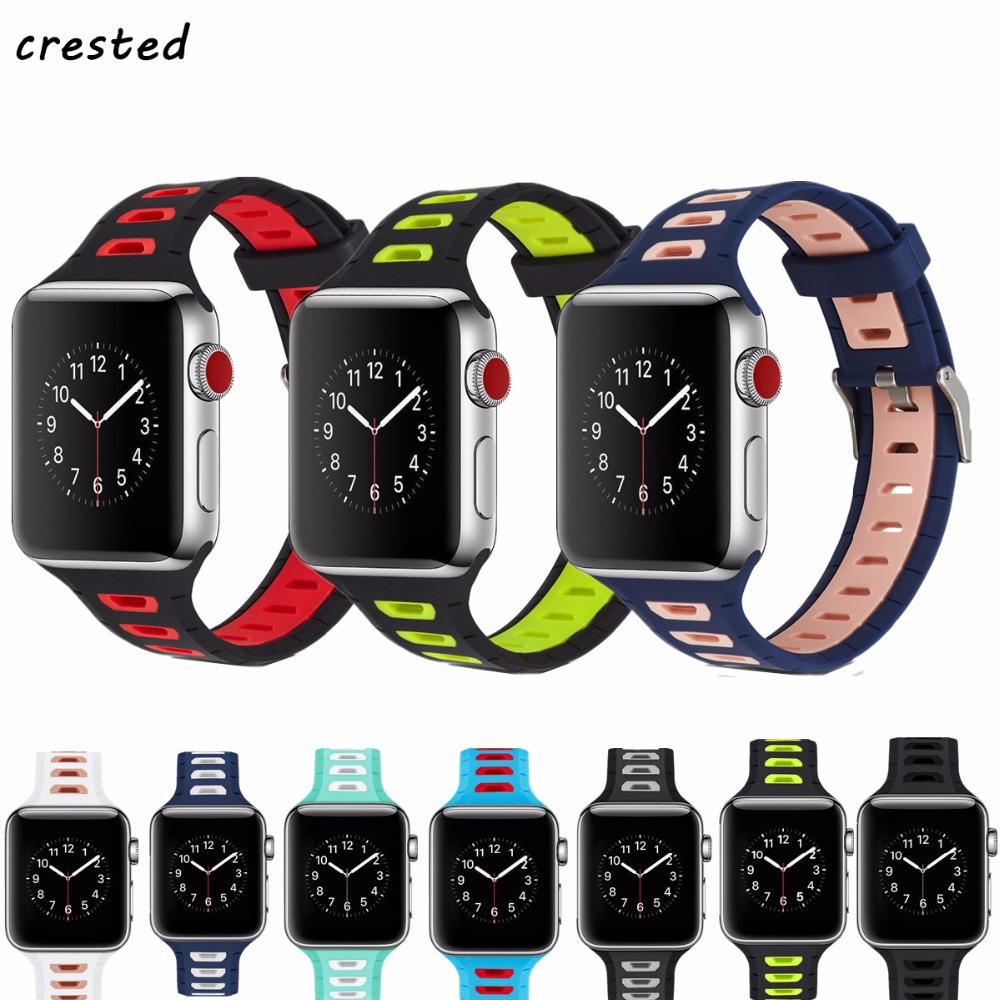 CRESTED sport band for apple watch 42mm 38mm bracelet strap iwatch nike 3/2/1 breathabe wrist watchband rubber watch band strap 7 pcs set thread rainbow spiral handle makeup brushes beauty cosmetics foundation blending blush make up brush tool kit set