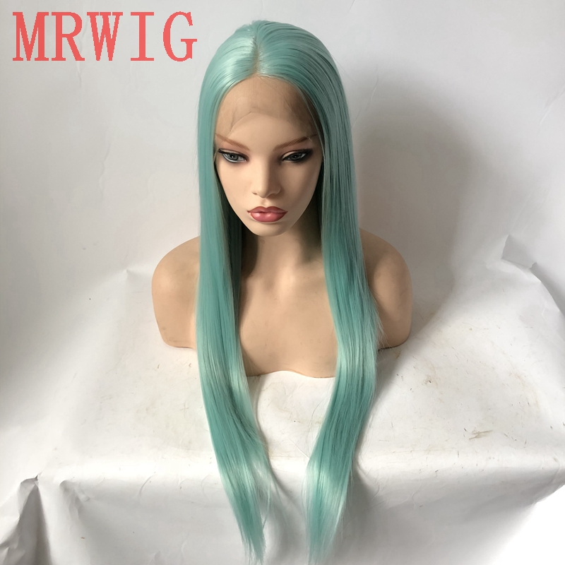 MRWIG Real Hair Blue Middle Part Blue Long Straight Synthetic Glueless Front Lace Wig Cosplay or Party