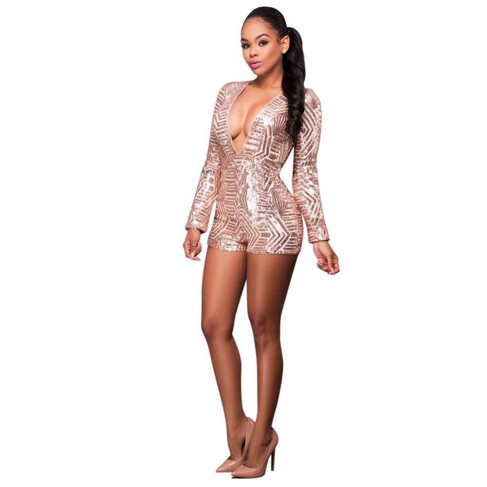 af12617fd481 Autumn 2017 Pink Black Gold Sequin Jumpsuit Sexy V-Neck Women High Waist  Rompers Ladies Long Sleeve Playsuit XL