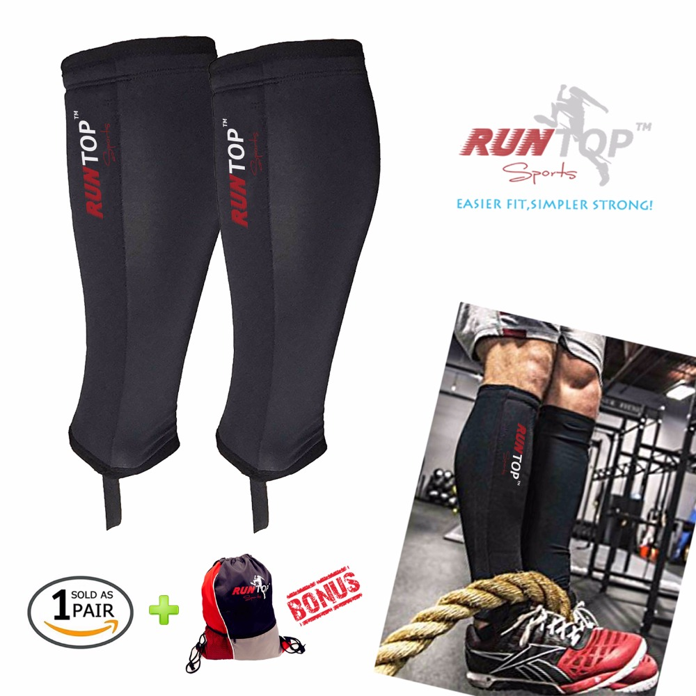 RUNTOP 5mm Neoprene Shin Guards Sleeves Shields Calf Protector Compression for Crossfit WODS Weight Lifting Box Jump Tail Climbs