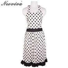 Купить с кэшбэком Neoviva Cotton Hostess Apron for Kitchen with Hidden Pockets, Lining Applied, Style Betty, Polka Dots White