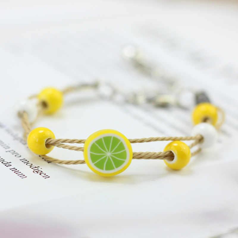 Ювелирные изделия оптом Бохо винтажный браслет с брелоками подвески из натурального камня керамический шарик милые фрукты животных ткачество браслеты браслет