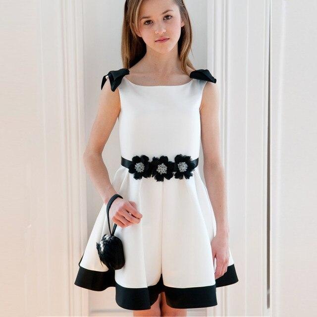 Vestido para nina blanco y negro