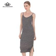 Autumn Women Side Split V-neck Slim knitted Cami Dress