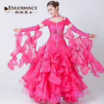 Female Moden Dance Dress Girls Ballroom Dance Suit Embroidered Waltz Tango National Standard Dance Wear Competition Dress D-0419