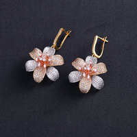 3 tone plated jewelry accessories brincos long big wedding drop earring for women online shopping India Nigeria bijoux