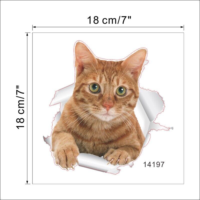 Cats Dog 3D Wall Sticker Bathroom Toilet Living Room Kitchen Decoration Animal Vinyl Art Sticker Poster 14